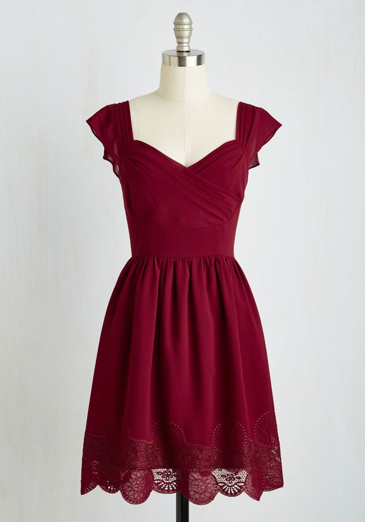Let's Reminisce A-Line Dress in Cranberry. Thanks to this dress nostalgic details, you've been caught up in daydreams since you slipped into its flowy A-line silhouette. #red #modcloth