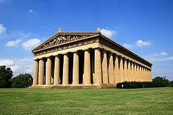The Parthenon in Nashville's Centennial Park is a full-scale copy of the original Greek Parthenon Location: Nashville, Tennessee, U.S.