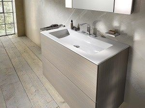 edition 11 double vanity unit in oak platin with a royal 60 ceramic basin
