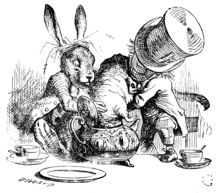 Dormouse (Alice's Adventures in Wonderland) - The March Hare and the Hatter put the Dormouse's head in a teapot. Illustration by John Tenniel.