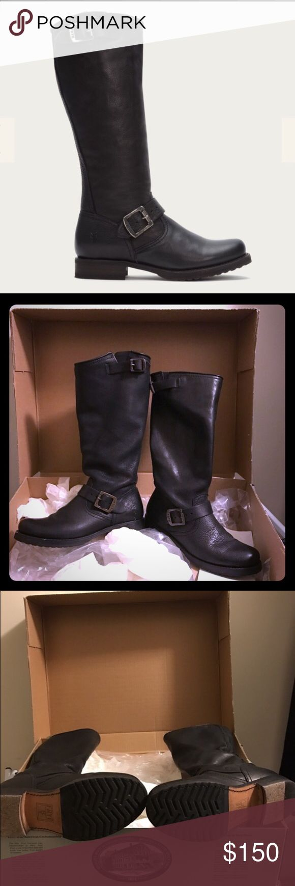 """Frye Tall Veronica Slouch Boot, Size 7 Frye Veronica Slouch Boot  Black leather  Size 7 - fits true to size.  Frye boots last forever and only get better with age. A tough engineer boot with a soft, relaxed fit, crafted from soft vintage leather.   -Italian Leather  -Leather Lined  -Leather Outsole  The only reason I'm selling is because my feet grew with pregnancy. Don't miss out!  15"""" calf circumference. Frye Shoes Combat & Moto Boots"""