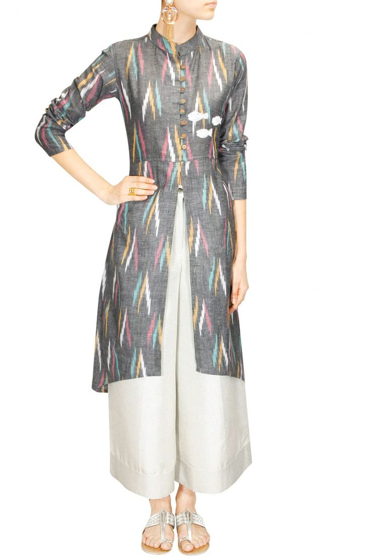 Grey embroidered front open slit tunic available only at Pernia's Pop-Up Shop.