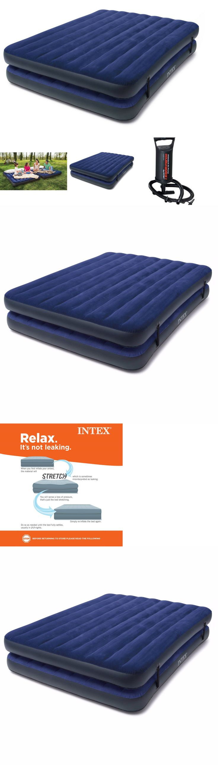 Other Camping Sleeping Gear 16040: Double Airbed Air Mattress Queen Size Intex Inflatable Raised Camping Bed W Pump -> BUY IT NOW ONLY: $37.3 on eBay!
