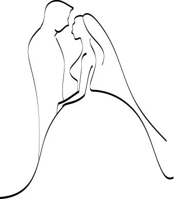 Wedding Cute Bride And Groom Outline Colouring For