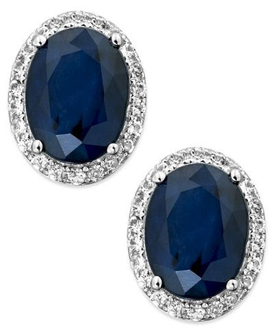 Sapphire and White Sapphire Oval Stud Earrings in 10k White Gold (3 ct. t.w.)