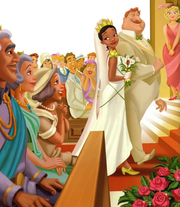 Tiana's wedding I love that charlottes dad walks her down the eisle, they are truely breaking the race and money barrier here