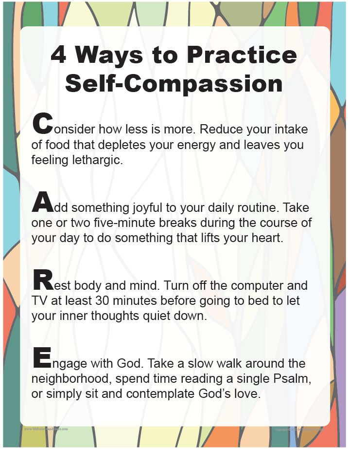 """Download """"4 Ways to Practice Self-Compassion"""" and use it in your home or parish to discuss ways to maintain balance and avoid compassion fatigue.     http://go.sadlier.com/wbas-practice-self-compassion     #Catholic #Catholics"""
