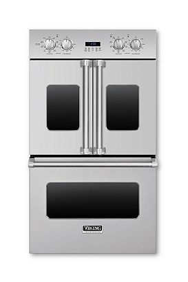 """NOTE: Viking Professional French-Door 30"""" $5,000 OR $7,200 double oven with 4.7 cu. ft. capacity, convection system, and infrared broiler. Available in stainless steel and a range of color finishes; from $7,399. vikingrange.com, 888-845-4641"""