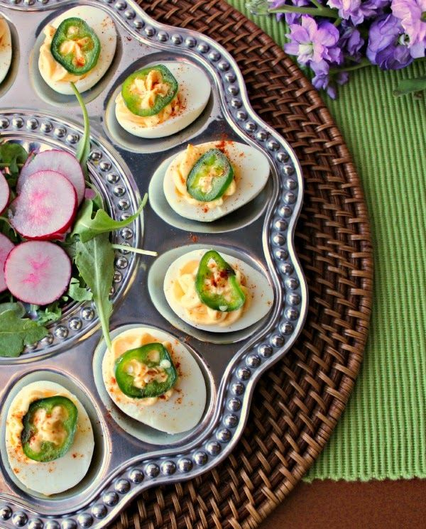 Renee's Kitchen Adventures: Sriracha Deviled Eggs with Candied Jalapeno Peppers!  A fantastic flavor combo, totally different from the same old boring deviled eggs.  #eggs #Easter