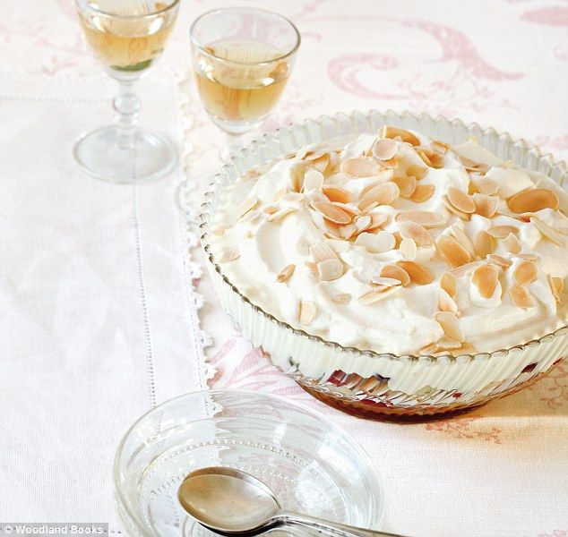 Mary Berry food special: Victorian trifle ~ classic cream custard with fruit, jam, sponge fingers, sherry, and toasted almonds | recipe by Mary Berry via Daily Mail
