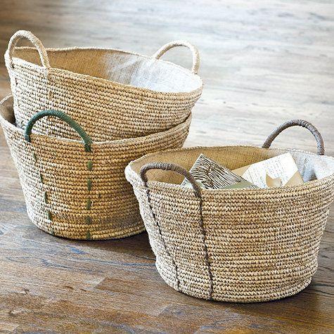 linen lined rope basket the wood grain cottage. Black Bedroom Furniture Sets. Home Design Ideas