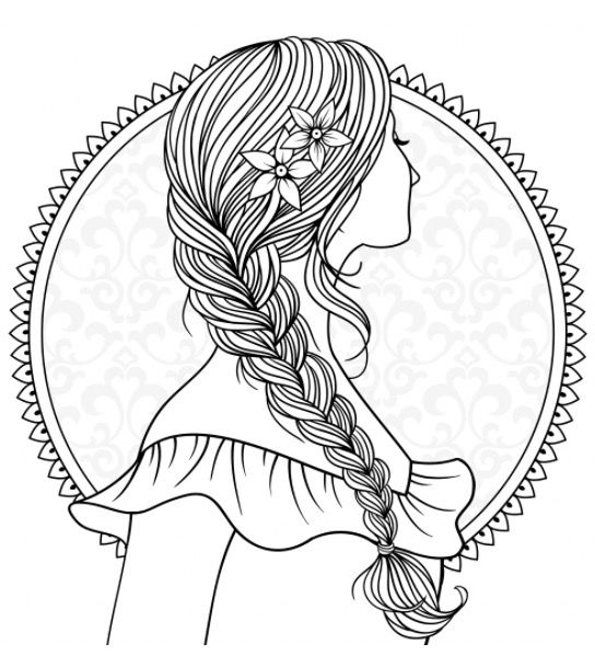 recolor coloring pages Girl with plaited hair to colour | Recolor app | Color Me Crazy  recolor coloring pages
