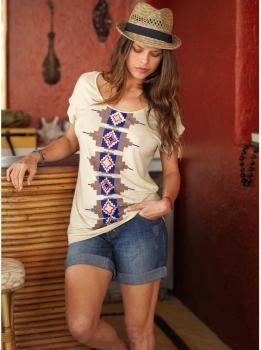 $16 Camiseta redoute - estampado ikat, mangas cortas