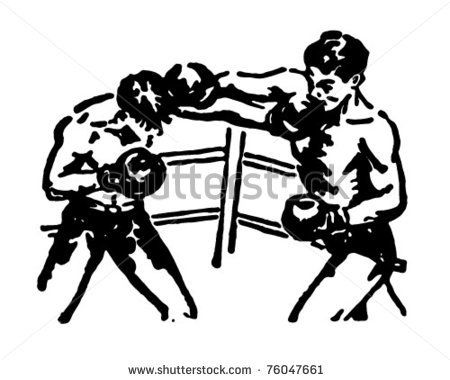 Boxing Match - Retro Ad Art Illustration by RetroClipArt, via Shutterstock