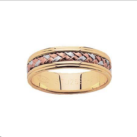 18ct Tri-Coloured Gold, Gentleman's Woven detail Wedder