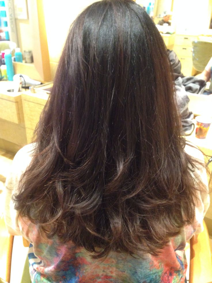 Long hair cut with layering and texture in the bottom. - but I want layers higher than this on my head, I want MOST of my hair to fit into a pony tail, but not quite all of it
