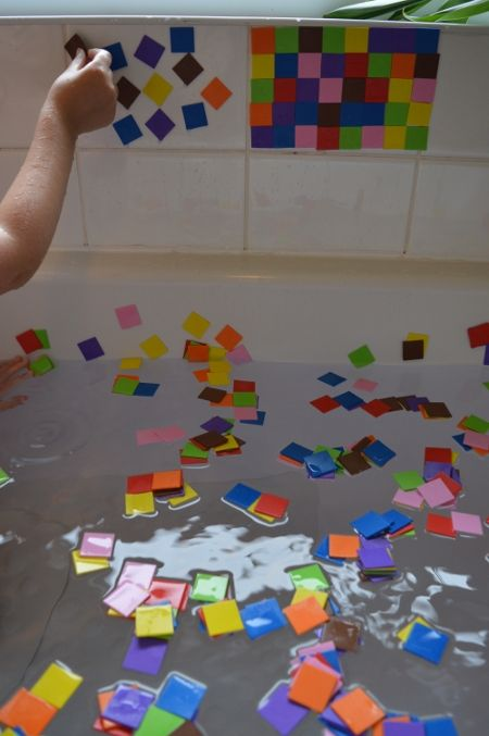 Homemade mosaic foam tiles for bathroom playtime (plus a review of the new Julia Donaldson book)