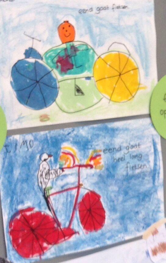 """Tekening van zwarte stift, ingekleurd met ecoline en verder pastelkrijt. Dit adhv het boek """"eend op de fiets""""."""