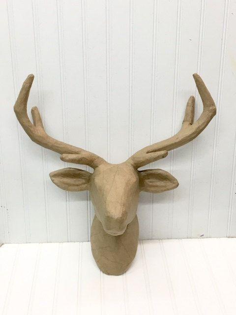 Paper Mache Deer Head/Animal Head/Large Deer Head/Deer Mount/SSLID0165/Nursery Decor/ DIY/ Taxidermy/ Paper Mache/ Wall Mount/Wall Decor