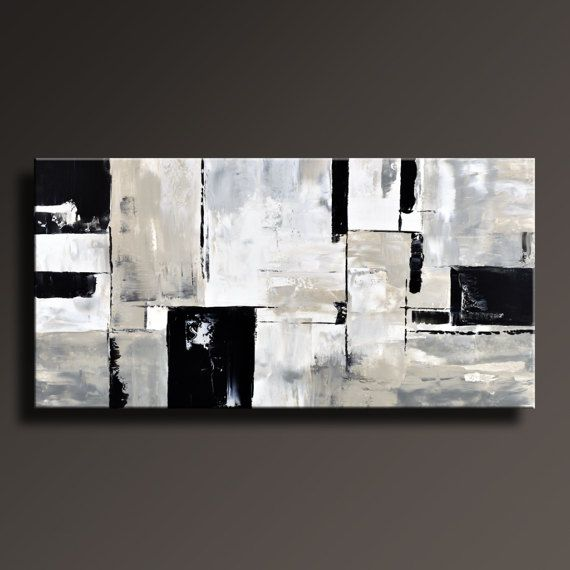 Pintura gris blanco negro Original lona arte contemporáneo
