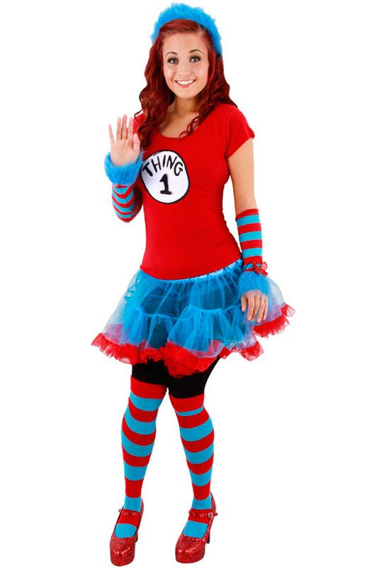 Dr. Seuss Character Costumes | Costumes > Dr Seuss Thing 1 and Thing 2 Adult Tutu Costume (S/M)