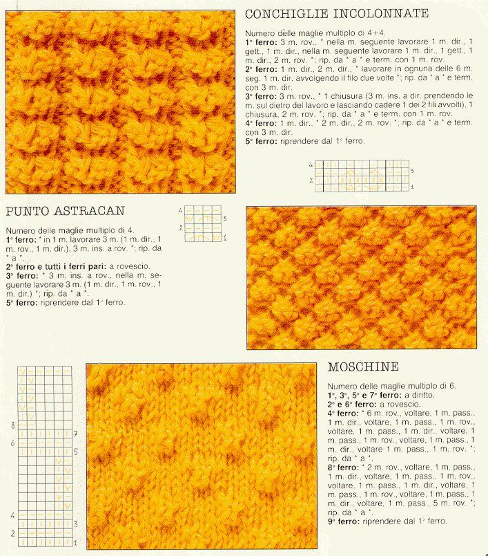 Punti/tecniche:trecce,noccioline,incrociati,tessuto