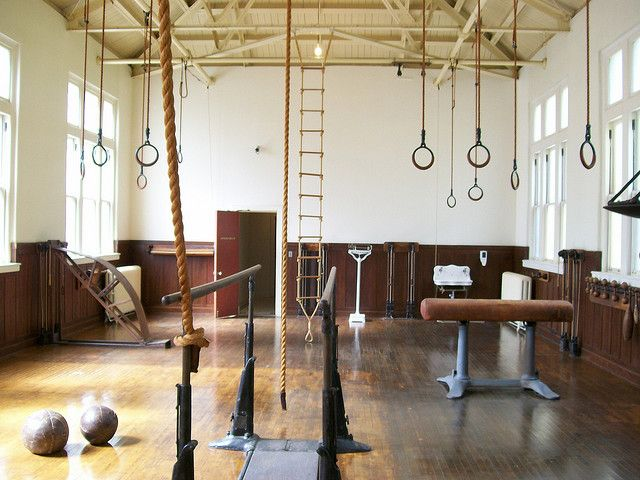 vintage gym - ropes, rings, gymnastics equipment - brings back memories