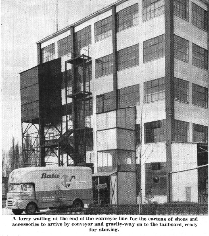 Bata Factory East Tilbury Building 13 loading shoes from stock room to lorry June 1961, note building constructed with square columns, later multi stored builds had round columns