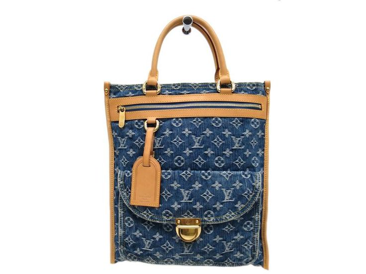 #LOUISVUITTON Flat Shopper Tote Bag Monogram Denim Blue M95018 (BF087227). Authenticity guaranteed, free shipping worldwide & 14 days return policy. Shop more #preloved brand items at #eLADY: http://global.elady.com