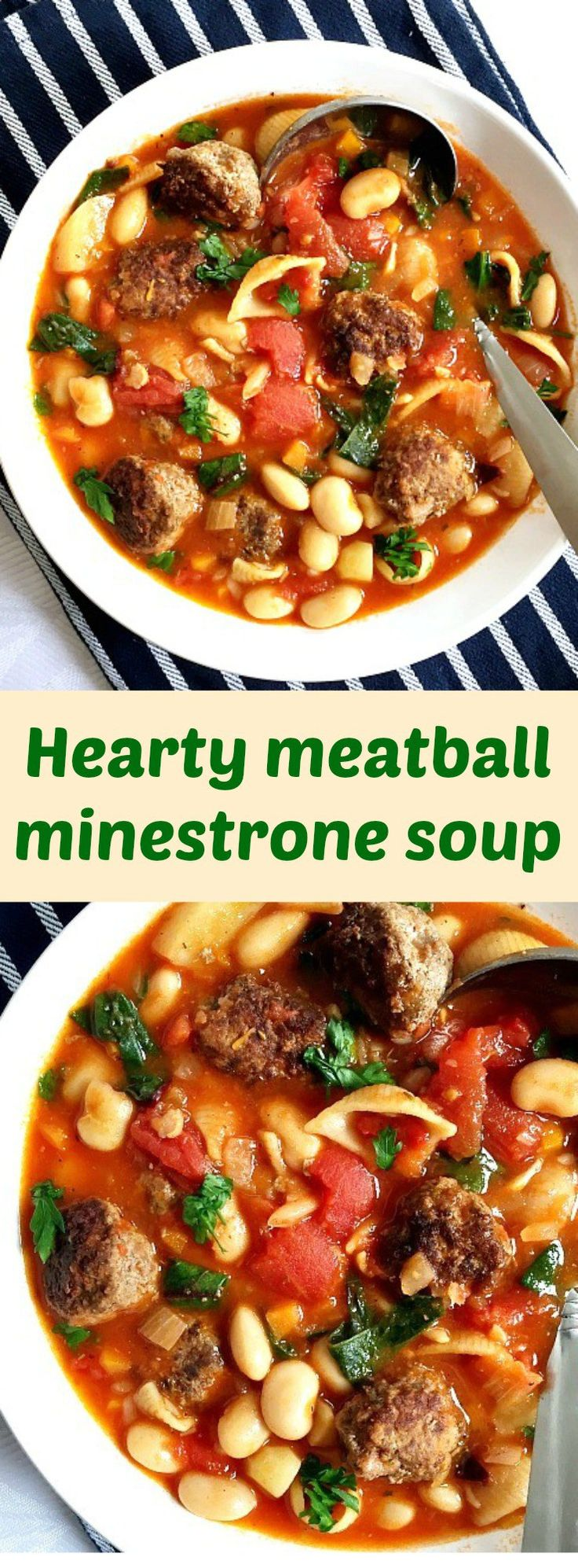 Hearty meatball minestrone soup with cannellini beans, carrots, wholemeal pasta, plum tomatoes and spinach, a classic Italian soup that is soothing and comforting. A great recipe for a delicious meal.