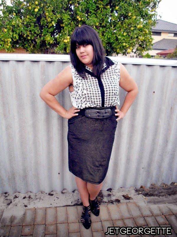 "Alex from Jet Georgette wearing our ""studio 54 GOLD velvet midi skirt""  how she has styled it up... link to blog post... http://www.jetgeorgette.com/2014/03/my-garb-loose-blouse-and-pencil-skirt.html"