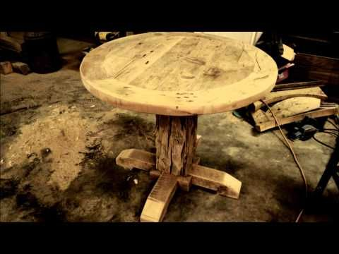 Our Reclaimed Wood Round Pedestal Tables