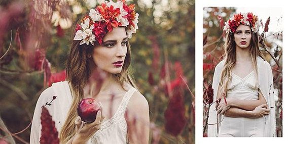 Autumn Princess Floral Head Crown by BlackRainCouture on Etsy