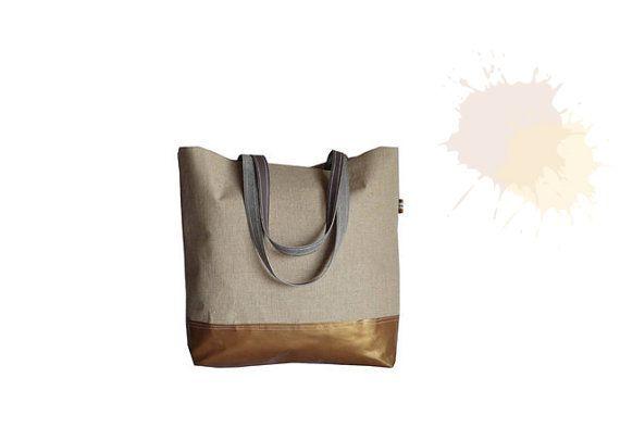 COPPER Brown Leather Tote Bag  Organic Bare Linen XL by dawnaparis, €50.00