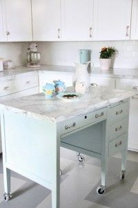 Turn a Desk Into a Kitchen Island - Old-House Online Well now~this is interesting...