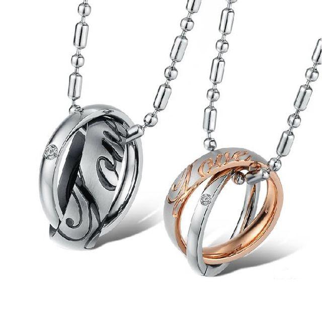 FATE LOVE Бренд Милая Пара ожерелье & подвески для женщин людей из нержавеющей стали цепи моде персонализированные ювелирные изделия