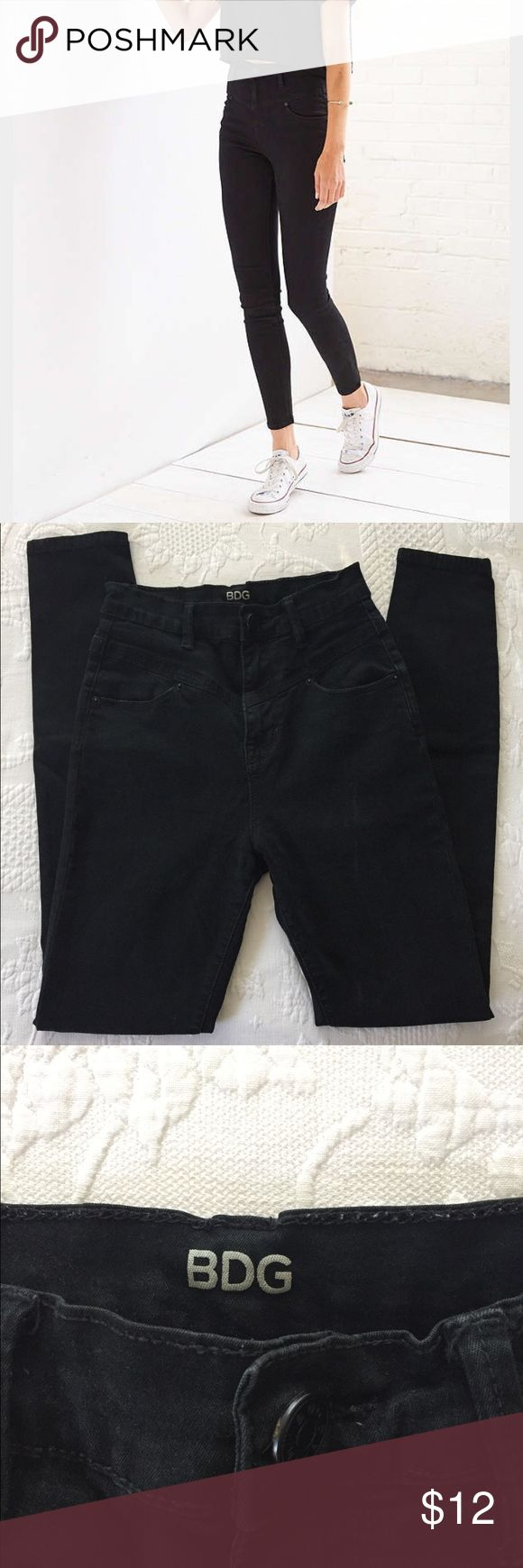 BDG Black High Rise Pants I'm letting these pants go for cheap because I wore them a lot one season! The material in the back is a bit thin from being worn so much and there is a small hole in the knee where I tripped and fell (no joke you can laugh). Otherwise these pants are in great condition! Offer is FIRM at $12. Size 25 but definitely fits like a 24. These will be great for someone who always wanted a pair of these but doesn't want to pay full price! Any questions please ask! BDG Pants…