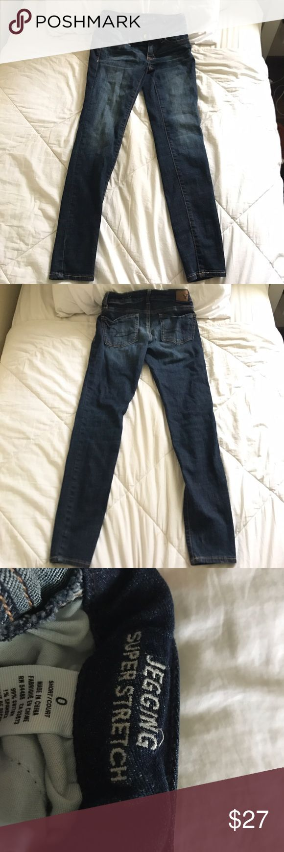 American Eagle Mid-Rise Jeans I really hate wearing anything other than black jeans so these blue jeans have been sitting in my closet untouched for a while!! it says they're jeggings but they definitely look more like jeans but are as comfortable as leggings :) Pretty much new, only used twice, maybe even once!! American Eagle Outfitters Jeans Skinny