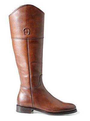 Aigner - Reiter-Stiefel aus glänzendem Kalbsleder