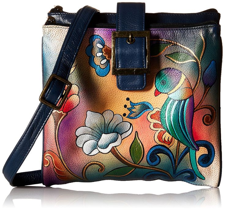 Anuschka Handpainted Leather 8069-PPR Triple Compartment Travel Organizer, Portuguese Parrot, One Size