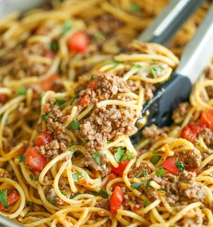 Emm, This Taco Spaghetti Recipe is Delicious, Let me know what you think on the facebook comments ? 🙂    You'Il Need:    Ingredients:    1 tablespoon olive oil    1 pound ground beef    1 (1.25-ounce) package taco seasoning    1 (10-ounce can) Ro*Tel®Mild Diced Tomatoes