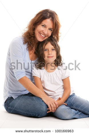 stock photo : Pretty young mother and daughter