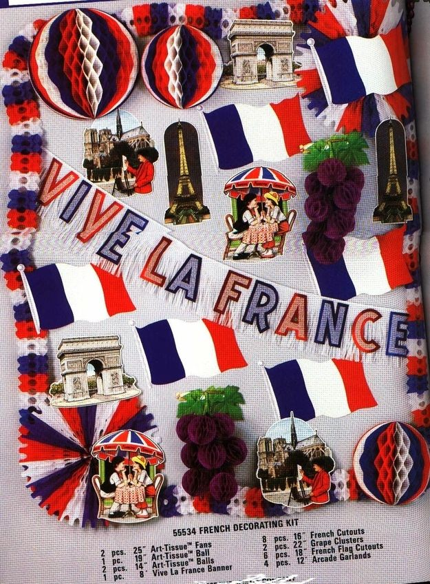 why not pay homage to revolutionary france with red  blue and white decorations