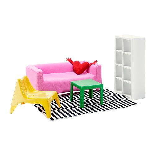 IKEA - HUSET, Soggiorno per bambole,  ,  , , I mobili per le bambole sono una copia in miniatura di mobili classici di IKEA.I disegni riportati sulla confezione si possono ritagliare e colorare e il tuo bambino può usarli per decorare la sua stanza, liberando la propria immaginazione.