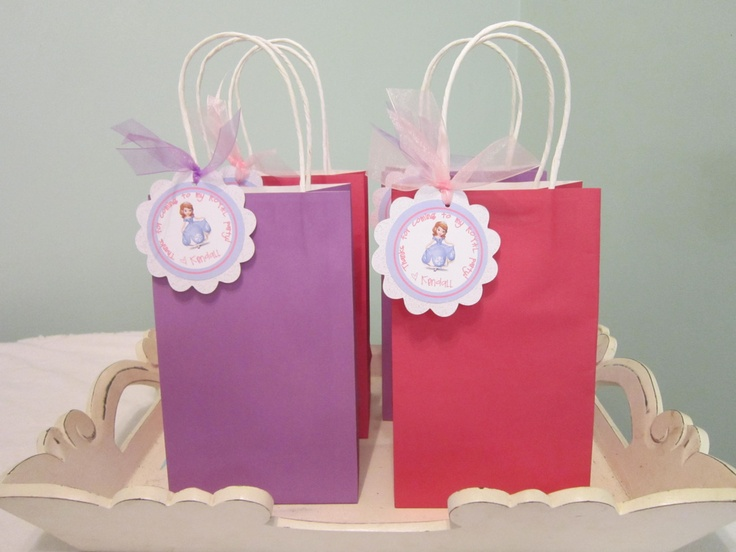 Sofia the first party favor bag tag. princess birthday party thank you tag. loot bag. $10.00, via Etsy.