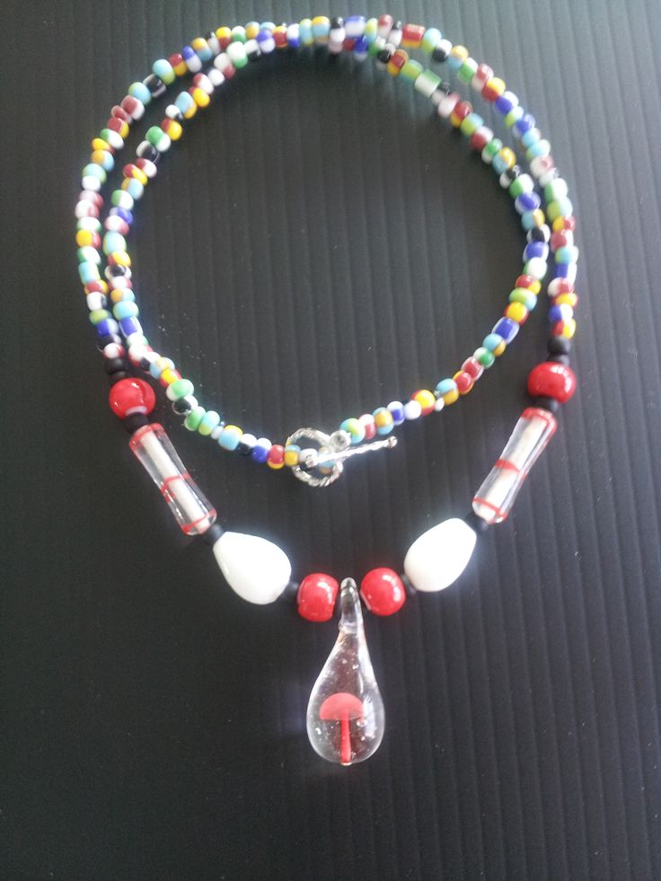 Sturdy  made necklace with glass blown mushroom bead. I have many of these beads in different colours!