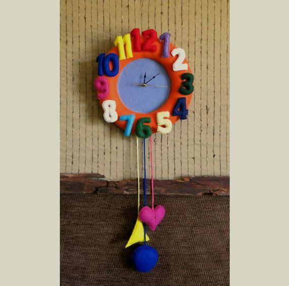 Nursery Wall Clock Felt Wall Decor Baby Shower by NchantedGifts