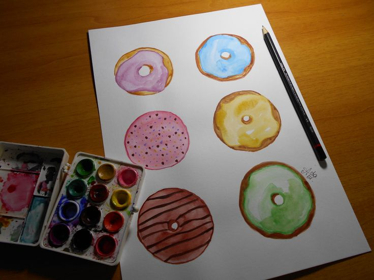 Watercolor donuts