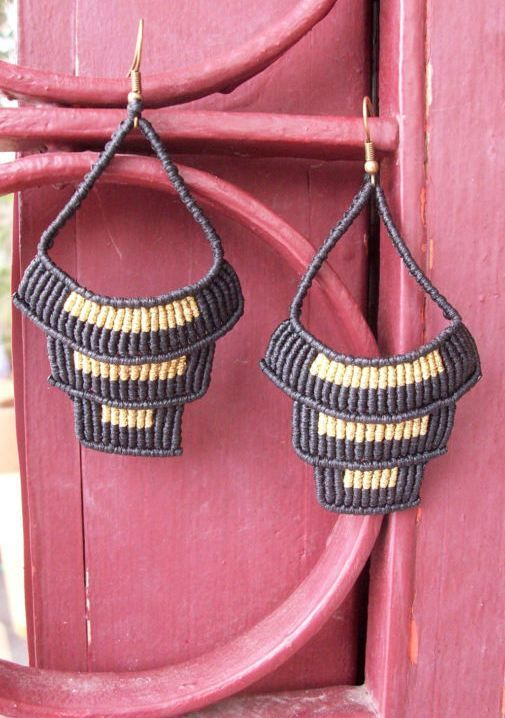 Black n Gold macrame earrings - Dangle earrings, boho chic earrings!