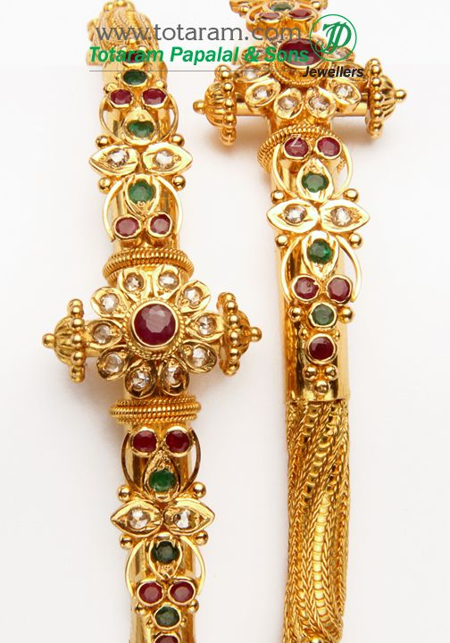 Totaram Jewelers: Buy 22 karat Gold jewelry & Diamond jewellery from India: 22K Fine Gold Uncut Diamond Kada with Rubies & Emeralds